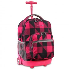 J World Sunrise Rolling Backpack - Block Pink