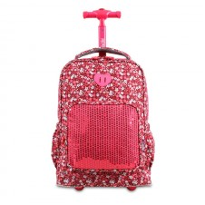 J World Sparkles Kids Rolling Backpack - Pink Florets