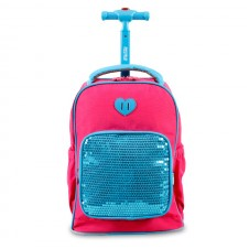 J World Sparkles Kids Rolling Backpack - Pink