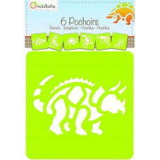 Set of 6 Assorted Dinosaurs Stencils