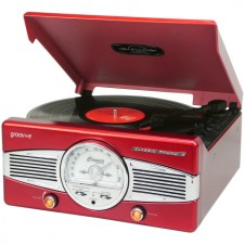 Retro Series Vinyl Record Player with Radio & Built-in Speakers – Red